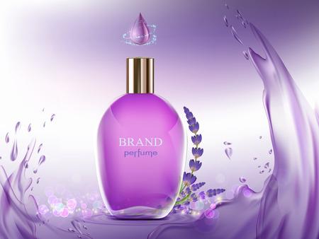 Perfume glass bottle. The aroma of lavender flower. Vector illustration Illustration