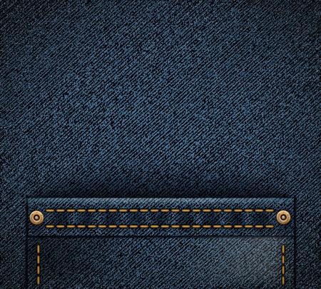 Empty pocket on denim texture. Fabric background. Stock vector illustration.