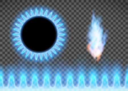 Blue flame isolated on a transparent background. Stove with burning gas. Vector illustration. Illustration