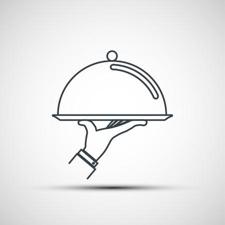 Kelner trzymający pustą tacę z kloszem. Projekt logo. Ikona wektor. Logo