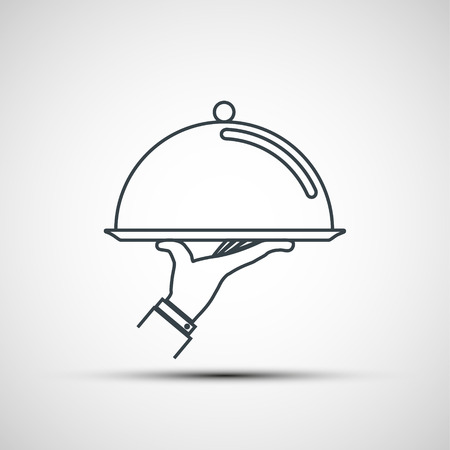 Waiter holding empty tray with a cloche. Logo design. Vector icon.
