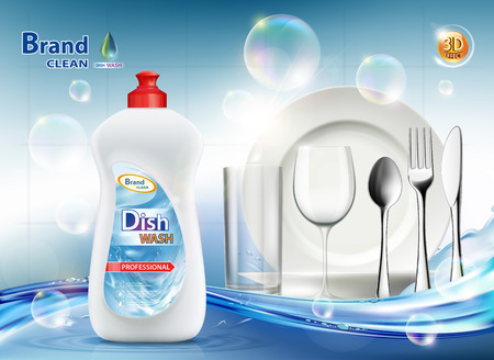 Packaging dishwashing liquid soap. Clean plate and cutlery. Vector illustration. Stock Vector - 120414553