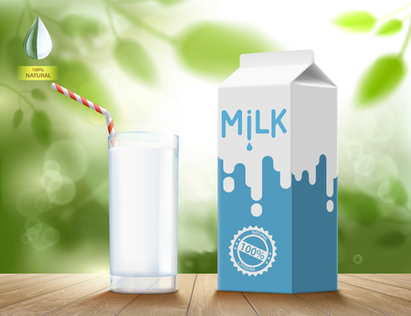 Glass of milk with a cardboard packaging on a wooden table. Natural background. Healthy food. Vector illustration.