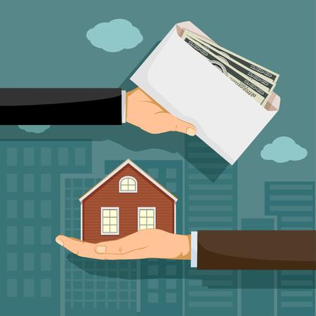 Realtor holds real estate. The buyer gives the money. Vector illustration. Illustration