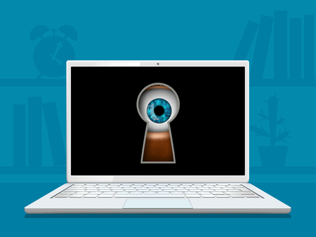 Eye looks into the keyhole on the laptop screen. Vector illustration.