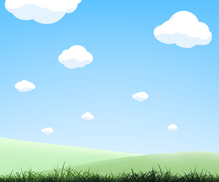 Natural landscape. Summer background with green meadows. Vector illustration. Stock Vector - 120800234