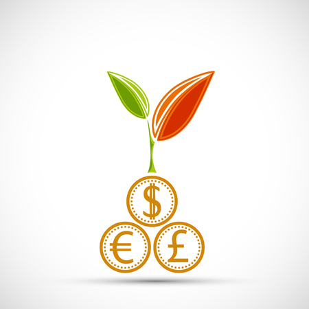 Plant with leaves growing from coins of currencies dollar, euro, pound. Financial logo. Vector icon illustration. Stock Vector - 120800235