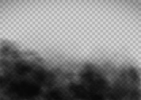 Texture de fumée noire sur fond transparent. Gabarit de gaz d'échappement. Illustration vectorielle.
