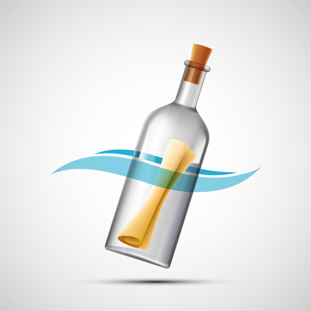 Paper with the message sos in a glass bottle. Vector icon