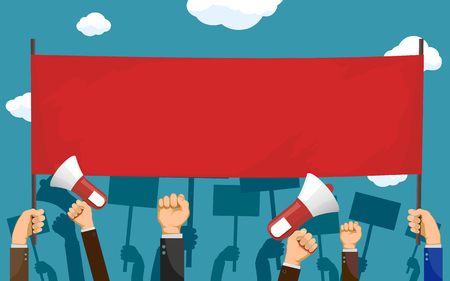 People hold red blank banner with copy-space. Pickets and demonstrations. Strike of workers. Vector illustration. Illustration