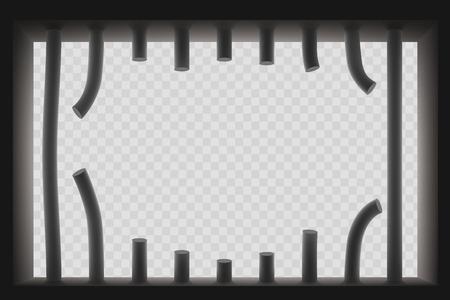 Fenster mit gesägten Gefängnisgittern. Ausbruch aus dem Gefängnis. Getrennt auf einem transparenten Hintergrund. Vektor-Vorlage.