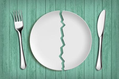 Broken white plate on a green wooden table. Healthy eating and diet. Vector illustration. 向量圖像