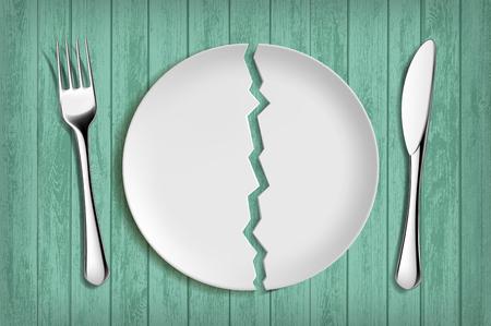 Plato blanco roto sobre una mesa de madera verde. Alimentación y dieta saludables. Ilustración vectorial.