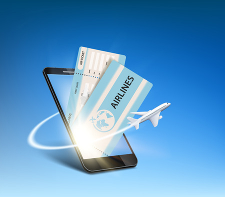 E-ticket on the smartphone screen. Plane flies around the device. Vector illustration. Illustration