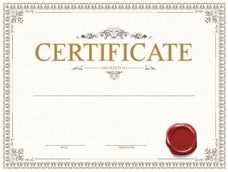 Diseño de plantilla de certificado o diploma con sello y marca de agua. Ilustración vectorial. Ilustración de vector