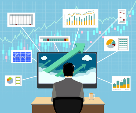 Financial trader on workplace. Graphs and charts on computer screen. Vector illustration.