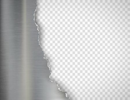 Placa de metal rota. Aislado en un fondo transparente. Plantilla de vector.