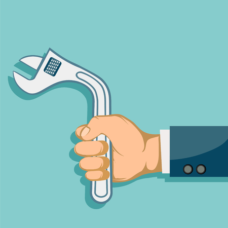 Impotence health problem. Erectile dysfunction. Man holding curve wrench in hand. Vector illustration.