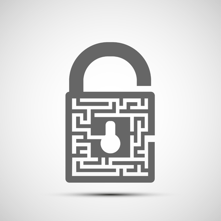 Lock icon symbol with keyhole and a maze. Vector logo.