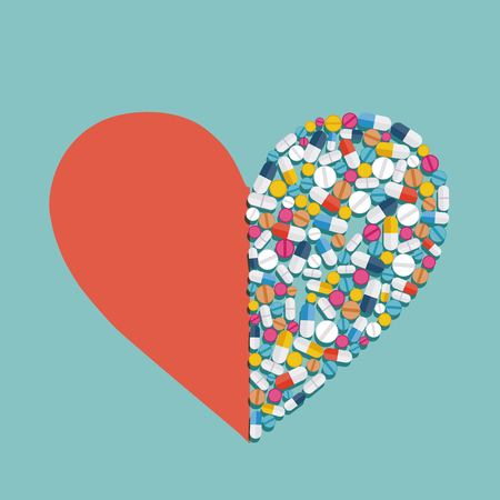 Heart shape made from pills and medicines. Vector flat graphics illustration. Ilustração