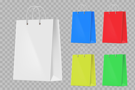 Set of colorful paper shopping bags. Isolated on a transparent background. Template vector