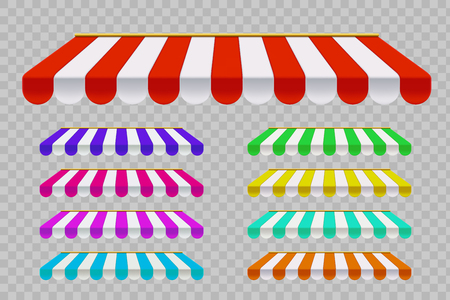 Set of striped sunshade. Template outdoor awnings. Isolated on a transparent background. Vector illustration