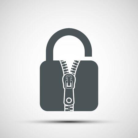 Icon door lock with a sewing zipper. Security concept. Vector logo Banco de Imagens - 124979476
