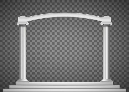 Antique columns with an arch. Isolated on transparent background. Vector illustration. Illustration