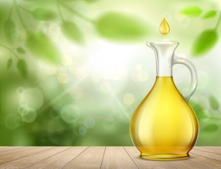 Glass jug with yellow oil and a drop standing on a wooden table. Vector illustration.