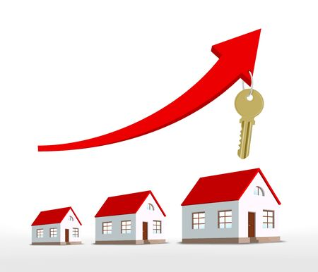 Graph of real estate growth with an arrow and houses. Business development. Vector illustration.