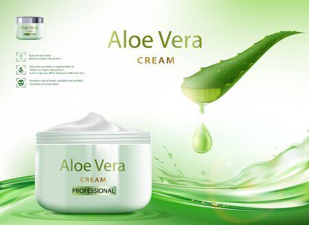 Aloe Vera skin care cream with plant leaves. Packaging brand design. Vector illustration.