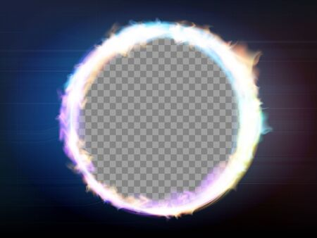 Round frame flame on a transparent background. Circle burning plasma or neon. Vector illustration.