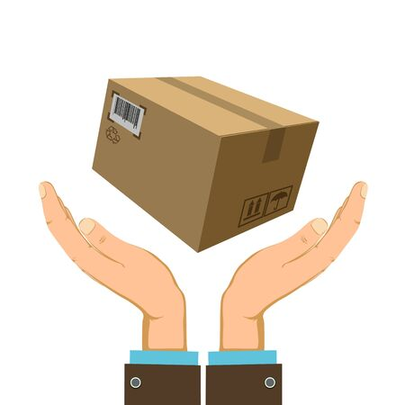 Cardboard box with cargo over human hands. Vector flat graphics illustration. Stock Illustratie