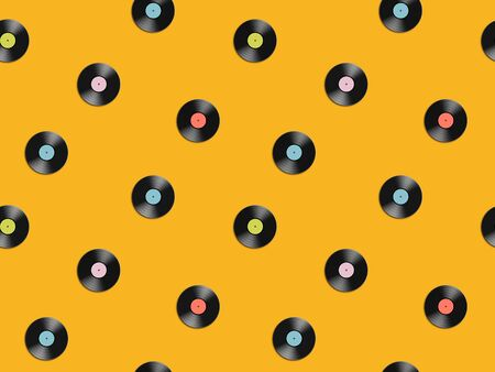 Seamless pattern with vinyl discs. Retro background. Vector illustration.