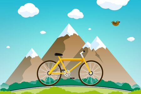 Bicycle rides on the road with mountains in the background. Flat graphics. Vector illustration.