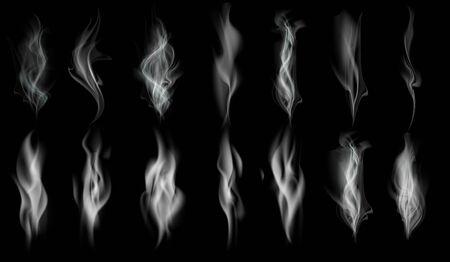 Ensemble de texture de fumée blanche. Motif isolé sur fond noir. Modèle vectoriel.