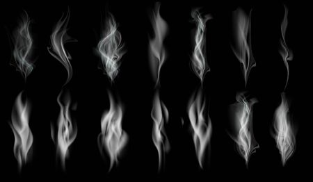 Set of white smoke texture. Pattern isolated on black background. Vector template.