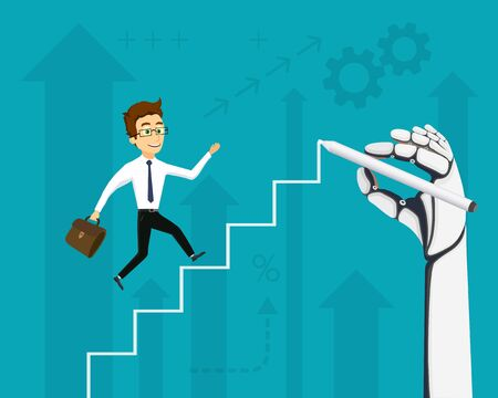 Businessman running up the stairs. Robot hand draws steps. Financial trading cryptocurrency. Vector illustration.