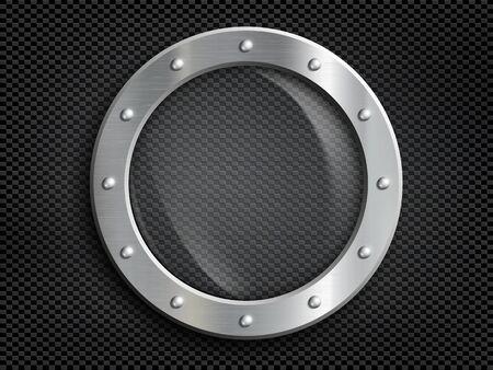Round metal window porthole with transparent glass. Vector background Stock Illustratie