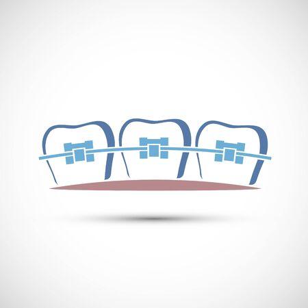 Icon human teeth with metal dental braces. Vector logo.
