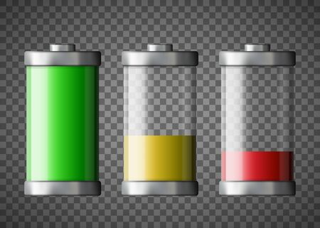 Battery charge status. Isolated on a transparent background. Vector illustration. Stock Illustratie