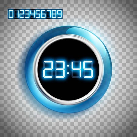 Watch dial with digital glowing neon numbers. Isolated on a transparent background. Vector illustration. Stock Illustratie