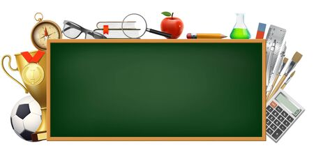 Back to school. Background with a blackboard and stationery for study and education. Isolated on white background. Vector illustration. Stock Illustratie