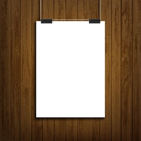 Blank white paper sheet template hanging on wooden wall. Empty affiche or banner mockup. Vector background.