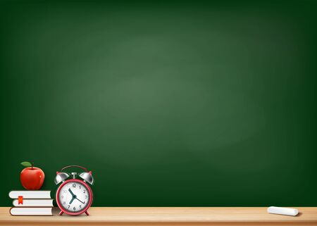 Back to school. Background with a blackboard, books, alarm clock and fruit apple. Vector illustration.