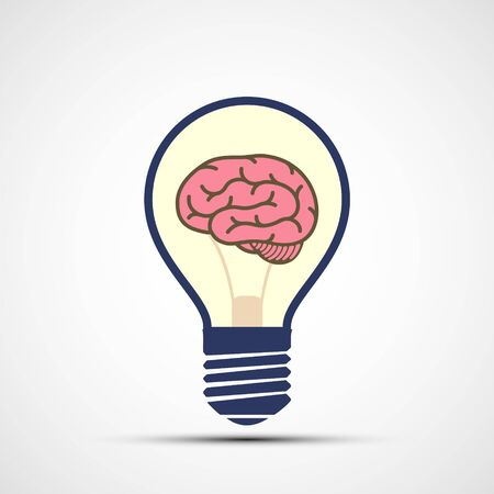 Icon light bulb with human brain inside. Vector logo. Stock Illustratie