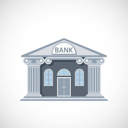 Bank building exterior. Icon isolated on a white background. Vector illustration Stock Illustratie