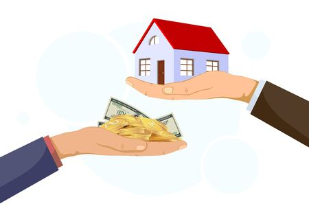 Realtor holds building. The buyer gives the money. Vector illustration.