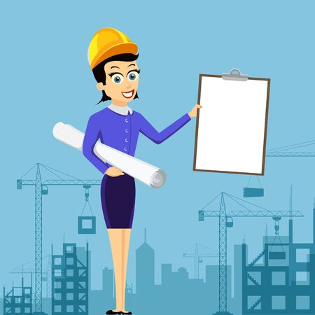 Realtor or architect in a helmet holds blank document. Construction of buildings. Vector illustration.