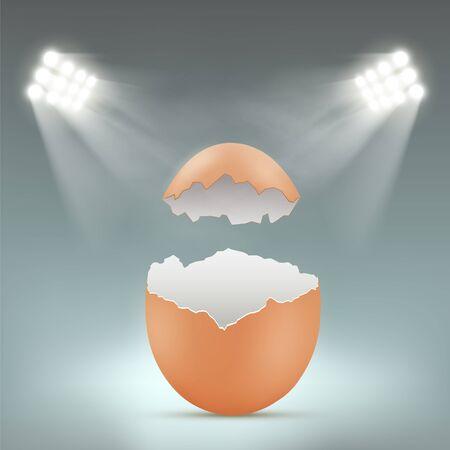 Broken empty blank chicken egg with spotlights. Vector illustration.